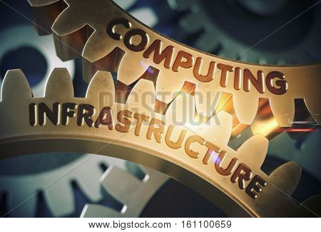 Computing Infrastructure on Mechanism of Golden Metallic Gears with Glow Effect. Golden Cogwheels with Computing Infrastructure Concept. 3D Rendering.