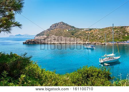 View of Ladiko bay and beach. Rhodes Dodecanese Islands Greece Europe