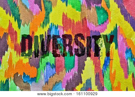 Word Diversity written on colorful abstract background