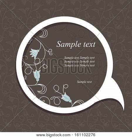 Round speech bubble with beautiful floral element