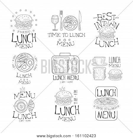 Best In Town Lunch Menu Set Of Hand Drawn Black And White Sign Design Templates With Calligraphic Text. Collection Of Promotion Ads For Restaurant Or Cafe Serving Lunch Meals In Monochrome Vector Sketch Style Illustrations.