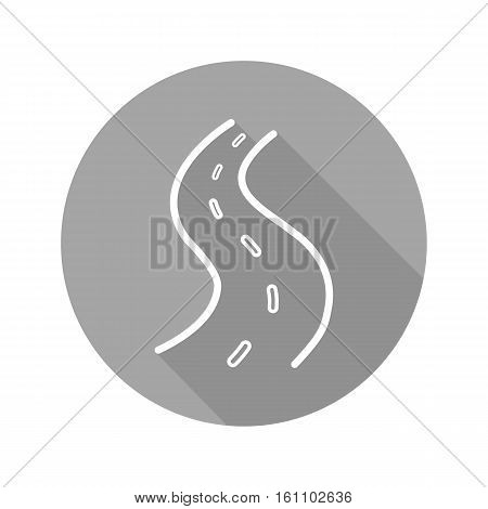 Road flat linear long shadow icon. Highway. Vector line symbol