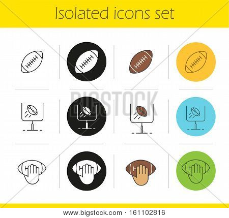 American football icons set. Linear, black and color styles. Hand holding rugby ball, goal sign. Isolated vector illustrations