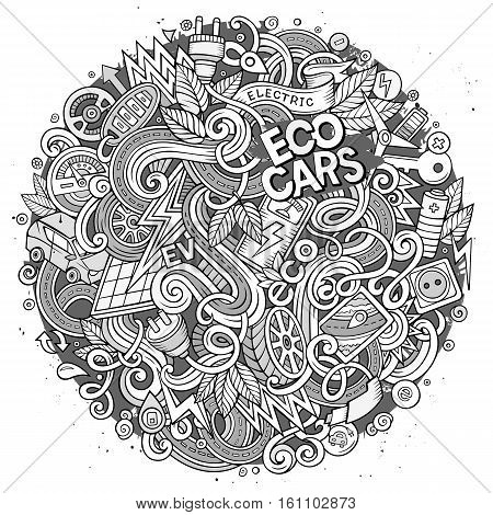 Cartoon cute doodles hand drawn Electric cars illustration. Line art detailed, with lots of objects background. Funny vector artwork. Contour picture with eco vehicles theme items