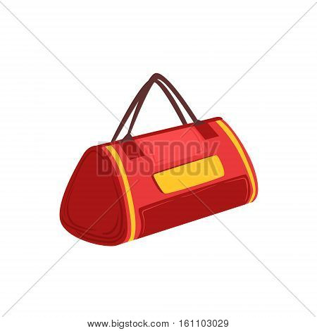 Red Soft Sportive Handbag With Double Handles Item From Baggage Bag Cartoon Collection Of Accessories. Personal Travel Luggage Piece Isolated Vector Icon.