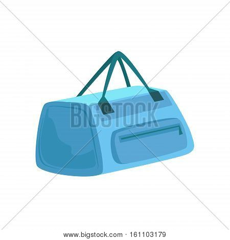 Small Blue Sportive Handbag With Two Handles Item From Baggage Bag Cartoon Collection Of Accessories. Personal Travel Luggage Piece Isolated Vector Icon.