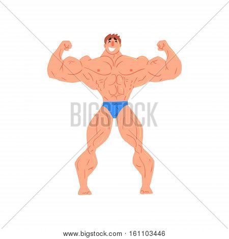 Man Bodybuilder Funny Smiling Character On Steroids Demonstrating Muscles In Front Double Biceps Pose As Strongman Routine. Muscly Man Showing Off In Muscleman Contest Vector Cartoon Illustration