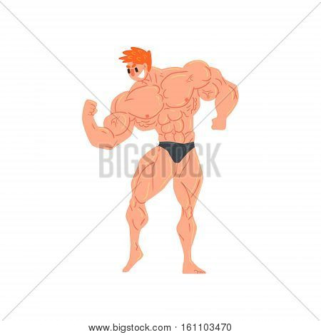 Man In Black Briefs Bodybuilder Funny Smiling Character On Steroids Demonstrating Biceps Muscles As Strongman Routine. Muscly Man Showing Off In Muscleman Contest Vector Cartoon Illustration
