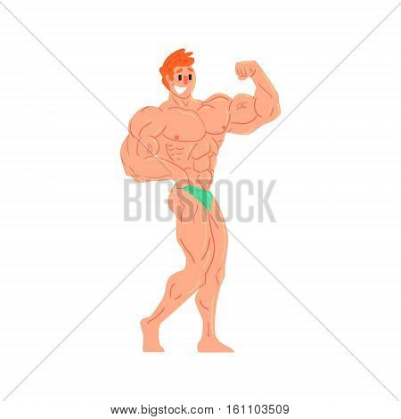 Man In Green Briefs Bodybuilder Funny Smiling Character On Steroids Demonstrating Biceps Muscles As Strongman Routine. Muscly Man Showing Off In Muscleman Contest Vector Cartoon Illustration