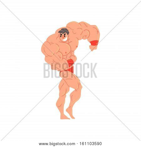 Man In Red Briefs And Wristlets Bodybuilder Funny Smiling Character On Steroids Demonstrating Muscles As Strongman Routine. Muscly Man Showing Off In Muscleman Contest Vector Cartoon Illustration