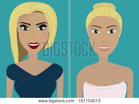 Cute blond girl with and without make-up.Vector illustration