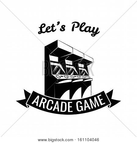 Arcade Room Label. Videogame Lets Play. Vector Illustration Isolated On White Background