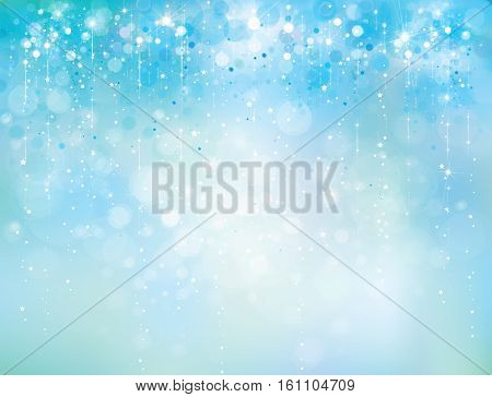 Vector abstract blue sparkle glitter background, holiday background.