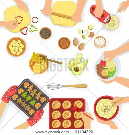 People Cooking Sweet Pastry And Other DishesTogether View From Above, Food Preparation Class Process. Vector Illustration With Only Hands Visible and Different Kitchen Attributes And Cooking Ingredients On White Background.