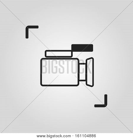 Thin line vector video camera icon, one of a set of web icons