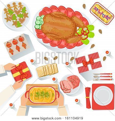 Couple With The Traditionally Served Christmas Celebration Meal View From Above Cartoon Illustration. Vector Holyday Object Set With Only Hands Visible, Presents And Classic Holiday Food.