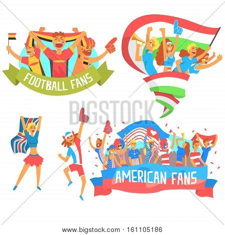 Cheering Happy Crowds Of National Sport Team Fans And Devotees With Banners And Attributes Supporting. Sportive Support Teams Of Different Countries With Flags Screaming And Smiling On A Stadium Vector Illustration Set.