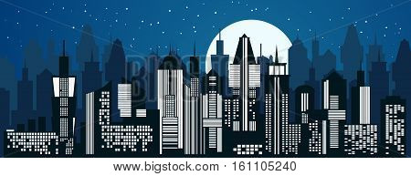 Cityscape background. Skyline silhouettes. Modern architecture. Blue urban landscape. Horizontal banner with megapolis skyscraper panorama. Building icon. Vector city illustration