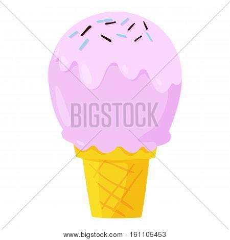 Cute fast food ice cream icon. Vector illustration for flavor dairy menu design. Refreshment product cartoon image. Sweet icecream isolated on white background. Delicious pink cold sundae