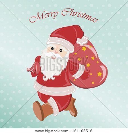 Merry Christmas Santa with gifts bag. Xmas snow scene. Christmas snow scene. Vector illustration