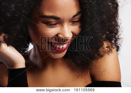 Laughing Black Woman Portrait With Bright Glossy Lips