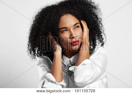 Black Woman Closed Her Ear From Nois. Afro Hair Watching Aside