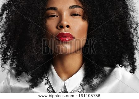 Closeup Portrait Of Black Woman With Ideal Skin