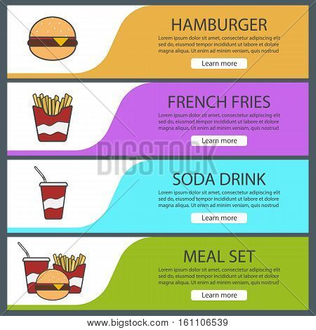 Fastfood banner templates set. Easy to edit. Hamburger, french fries, soda drink, fast food meal set. Website menu items. Color web banner. Vector headers design concepts