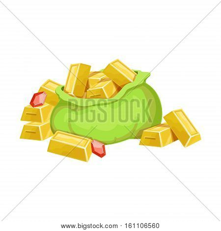 Big Sack With Golden Bars And Rubies, Hidden Treasure And Riches For Reward In Flash Came Design Variation. Cartoon Cute Vector Illustration With Isolated Treasury Object For Bonus Element In Video Games.