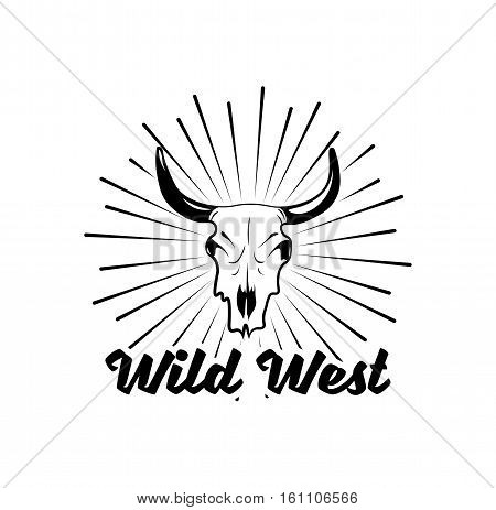 Wild west cow skull with horns. Rodeo Label. Vector Illustration. Isolated On White Background