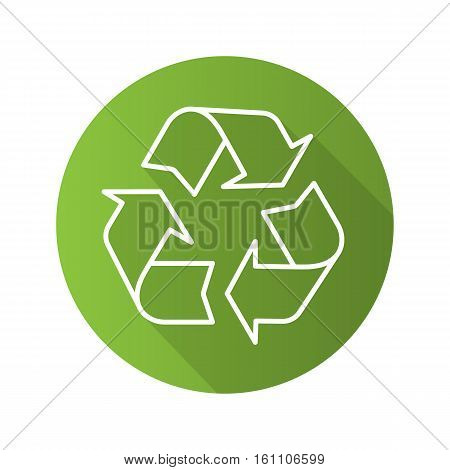 Recycle symbol. Flat linear long shadow icon. Environment protection sign. Vector line illustration