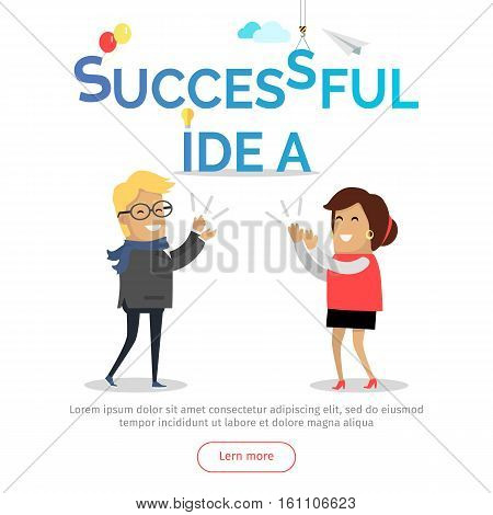 Successful idea web banner. Business solution. Man and woman clapping hands. Business team success in work. Cartoon characters strategic, solve problem with partnership challenge. Vector