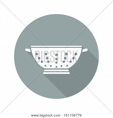 Colander flat design long shadow icon. Strainer. Vector silhouette symbol