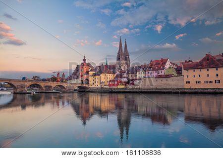 Regensburg.Cityscape image of Regensburg, Germany during sunset.