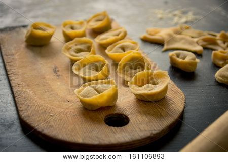 Homemade Pasta Tortellini From Real Semolina Flour From Italy