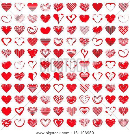 Red heart icons. Vector illustration for happy valentines day holiday design. Romantic shape heart symbol. Love sign graphics set. Hand drawning element. Sketch doodle hearts