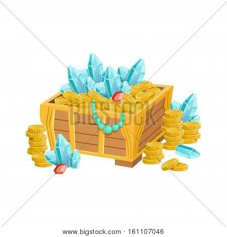 Open Chest With Golden Coins, Blue Crystals And Jewelry, Hidden Treasure And Riches For Reward In Flash Came Design Variation. Cartoon Cute Vector Illustration With Isolated Treasury Object For Bonus Element In Video Games.