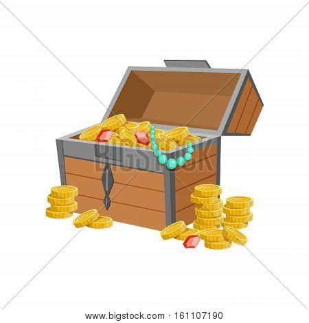 Half Open Pirate Chest With Golden Coins And Jewelry, Hidden Treasure And Riches For Reward In Flash Came Design Variation. Cartoon Cute Vector Illustration With Isolated Treasury Object For Bonus Element In Video Games.