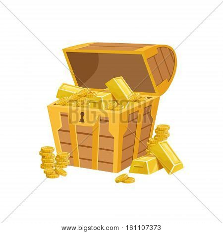 Half Open Pirate Chest With Golden Bars, Hidden Treasure And Riches For Reward In Flash Came Design Variation. Cartoon Cute Vector Illustration With Isolated Treasury Object For Bonus Element In Video Games.