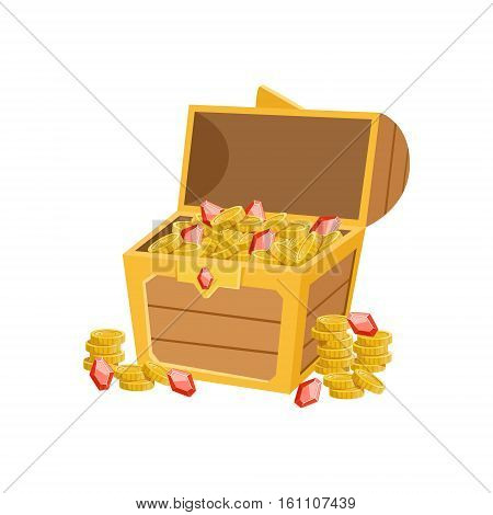 Half Open Pirate Chest With Golden Coins And Rubies, Hidden Treasure And Riches For Reward In Flash Came Design Variation. Cartoon Cute Vector Illustration With Isolated Treasury Object For Bonus Element In Video Games. poster