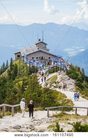 Berchtesgaden Germany - September 28 2016: View of the Kehlsteinhaus also known as Hitler's Eagle Nest a Third Reich-era cabin built on top of the summit of the Kehlstein near Berchtesgaden Germany.