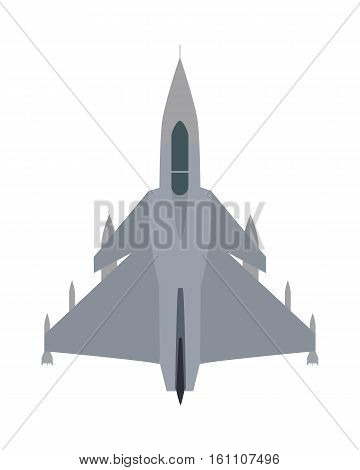 Military airplane isolated on white. Aircraft plane vector cartoon illustration. Military plane flying on speed. Flying transport unit. War means of transportation in the air. Army aeroplane.