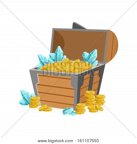 Half Open Pirate Chest WIth Golden Coins And Blue Crystal Gems, Hidden Treasure And Riches For Reward In Flash Came Design Variation. Cartoon Cute Vector Illustration With Isolated Treasury Object For Bonus Element In Video Games.