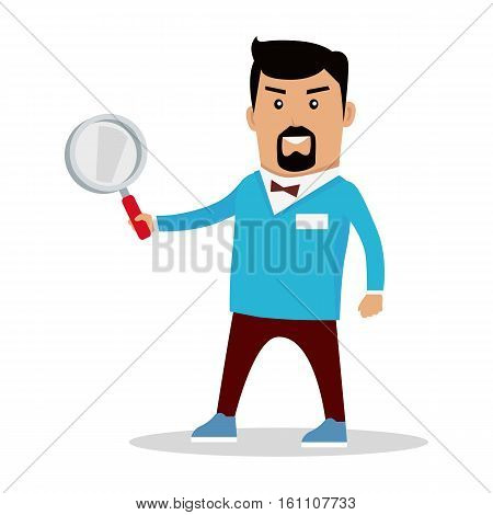 Searching information concept vector. Flat design. Job, solution, data, people search illustration. Searching servise icon. Man character with magnifying glass standing on white background.