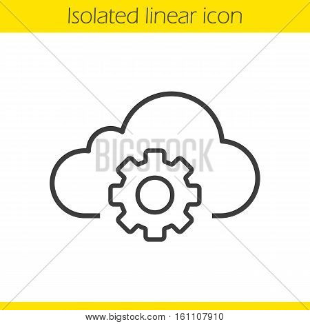 Cloud storage settings linear icon. Thin line illustration. Web hosting preferences. Cloud computing with cogwheel contour symbol. Vector isolated outline drawing