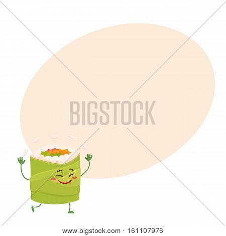 Japanese avocado roll character juggling with rice, cartoon vector illustration on background with place for text. Cute and funny smiling avocado roll filled with fish, caviar and vegetables