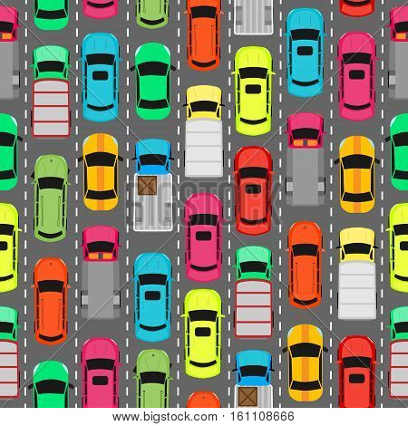 Seamless pattern with cars on parking. Endless texture with different kinds of automobiles. Wallpaper design with transport vehicles. Parking lot or car park. Large number of cars in crowded parking. Vector