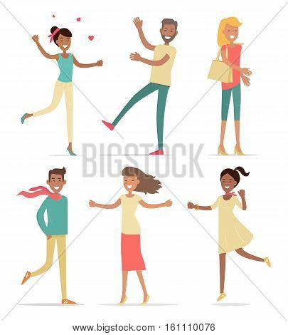 Set of shopping people vector concepts. Flat design. Collection of smiling woman and man characters expressing emotions of joy. Pleasure of purchase. Illustration for sales and discounts.