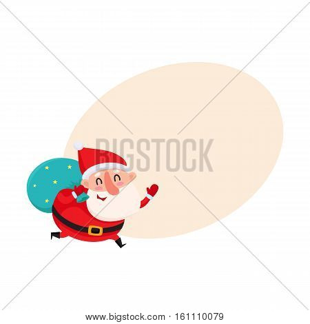 Funny Santa Claus running with bag of Christmas gifts, cartoon vector illustration with background for text. Santa Claus with Christmas gift bag on his shoulder, holiday season decoration element