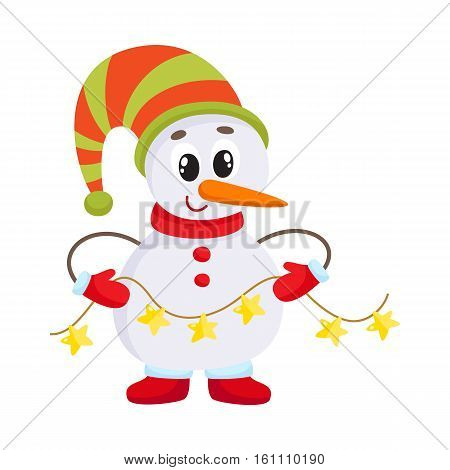 Cute and funny little snowman holding a garland, cartoon vector illustration isolated on white background. Funny snowman in hat and mittens with Christmas lights, holiday season decoration element